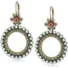 "Liz Palacios ""Crystales Opalos"" Crystal Circle Earrings with Flower Top: Jewelry: Amazon.com"