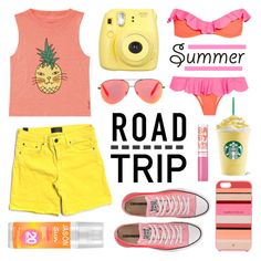 """""""Summer Road Trip"""" by lgb321 ❤ liked on Polyvore featuring Je m'en fous, Billabong, Jason, Kate Spade, Vince, Converse, Maybelline and Victoria Beckham"""