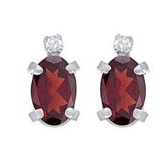 1.86 Ct Oval Cut Red Garnet & Diamond Accent 14k White Gold Tortoise Earrings by JewelryHub on Opensky
