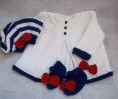 Baby Girls Sweater Set Hand Knitted by PreciousNewbornKnits