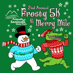 Frosty 5k and Merry Mile || KEN YOUNG CO || shirt design, tshirt design ideas, inspiration, event shirts, fundraiser event, 5K fun run, snowman running, gator running, ugly christmas sweaters, snowflakes, christmas event, christmas theme, christmas fundraiser event, christmas design ideas, funny and cute
