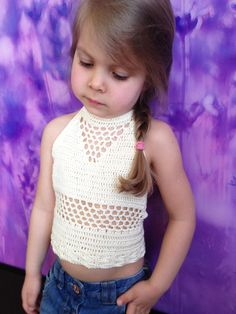Festival toddler top/ Crocheted Toddler Crop Top/ Girls crop top/ Ivory hippie crochet top/ Toddler bohemian top/ Girl crochet beach top by ElenaVorobey on Etsy Crochet Halter Tops, Crochet Shirt, Crochet Crop Top, Crochet Poncho, Crochet Bikini, Crochet Toddler, Crochet Girls, Easy Crochet, Crochet Baby
