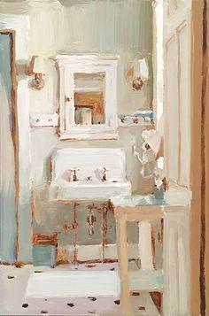 Mary Sauer, Bathroom Interior, oil on panel, 9 x 6 Painting Inspiration, Art Inspo, Drawn Art, Arte Sketchbook, Guache, Ap Art, Pretty Art, Aesthetic Art, Oeuvre D'art