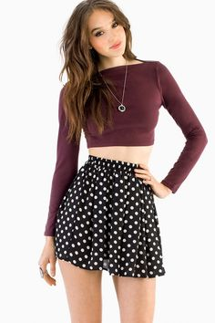 Burgundy Show Boat Crop Top at $23 (was $42)