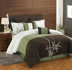 8 Piece Queen Bamboo Embroidered Comforter Set -- Click affiliate link Amazon.com on image to review more details.