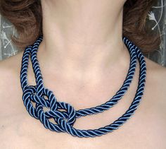 FREE SHIPPING. Dark blue sailor knot necklace. Silk rope.