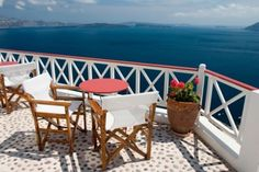 Beautiful view from balcony on the Santorini island - Stock Photos : Masterfile Greece Tours, Greece Honeymoon, Santorini Island, Greek Isles, Bucket List Destinations, All I Ever Wanted, Outdoor Furniture Sets, Outdoor Decor, Indigo