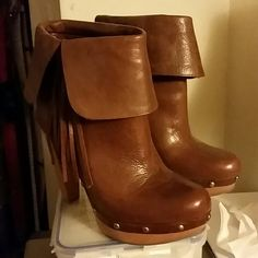 INC brown leather booties Very sexy wooden heels,  embellished with tassel, folded booties,  pure leather,  in very good condition,  worn once only,  chic INC International Concepts Shoes Ankle Boots & Booties