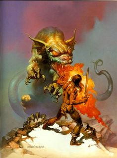 Boris Vallejo - Cadmus fighting the dragon of Ares. Tags: cadmus, kadmos, ares, mars, history of thebes