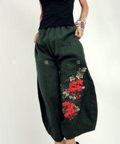 Pantalón ancho de verde mujeres moda falda por fashiondress6