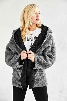 Ecote Fuzzy Reversible Jacket | jackets+coats+blazer | Pinterest