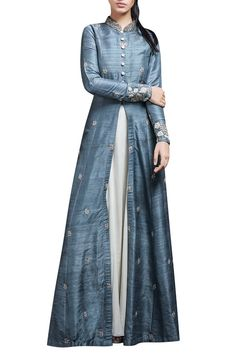 Shop SVA - Rustic blue anarkali jacket & inner Latest Collection Available at Aza Fashions Indian Attire, Indian Wear, Kurta Designs, Blouse Designs, Indian Dresses, Indian Outfits, Indian Clothes, Indian Jackets, All Jeans