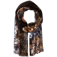 Vince Camuto Free Floral (Dark Shadow) (€43) ❤ liked on Polyvore featuring accessories, scarves, sheer scarves, silk shawl, floral scarves, vince camuto scarves and vince camuto