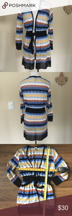 Missoni light weight belted cardigan Missoni light weight cardigan, excellent condition. A couple of pulls that were reversed to the inside and you can't notice. Italian size says 48 but runs small. Purchased from another posh for someone that is a size L and was small on her. I'd say is best for sz 6/8, 10 tops, so I listed it as M. Please check measurements and ask questions. My mannequin is size 0/2. M by Missoni Sweaters Cardigans
