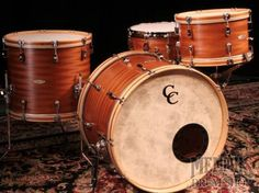 Very nice vintage-looking kit with wood hoops from C & C Custom Drums.