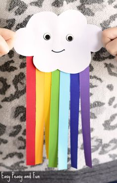 Cute Paper Rainbow Kid Craft Toddler class - creation Spring easy paper crafts for kids - Paper Crafts Tissue Paper Crafts, Paper Crafts For Kids, Easy Crafts For Kids, Children Crafts, Paper Paper, Art Crafts, Kids Diy, Diy Art, Toddler Arts And Crafts