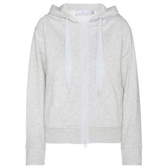 Adidas by Stella McCartney Run Zipped Hoodie ($90) ❤ liked on Polyvore featuring jackets, outerwear, sweaters, tops, grey and adidas