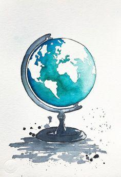 Original World Map Watercolor Painting, Globe Illustration, Travel Illustrator, Modern Wall art, Home Decor, Handmade Holiday Gift 7.5 x 11. by NiksPaintGallery on Etsy