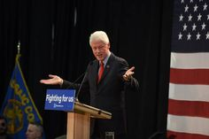 Bill Clinton addressing the crowd at  Passaic County Community College on Friday, May 13, 2016.