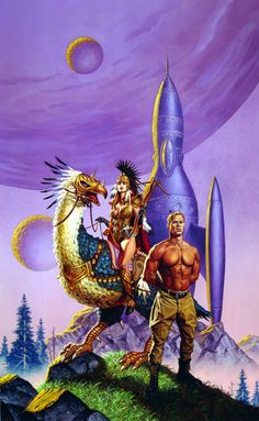 CLYDE CALDWELL - art for Virgin Planet by Poul Anderson - 2000 Baen paperback