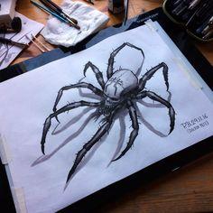 Spider-Skull #tattoo #design by #doctorpete - #ink on #aquarel paper.  #schwarzehandtattoo #flash #flashaddicted #tattooflash #drawing #berlin #brushpen #tattooartist #horror #creepy #inked #inkaddict #inkaddicts #berlintattoo #flashart #berlintattooists #berlinstagram#blackandgrey