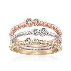 Ross-Simons - Set of Three 14kt Tri-Colored Gold Rings With Diamonds - #833218