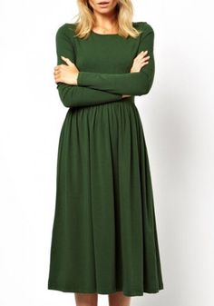 Green Plain Pleated Below Knee Cotton Blend Dress