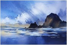 """""""Cannon beach - oregon"""" thomas w schaller - watercolor sketch. 13 july 2015 more. Watercolor Ocean, Watercolor Art Diy, Watercolor Sketch, Watercolor Artists, Watercolor Techniques, Watercolor Landscape, Landscape Paintings, Watercolor Paintings, Watercolours"""