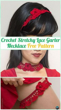 CrochetStretchy Lace Garter Necktie Necklace FreePattern  - #Crochet #Jewelry Necklace Free Patterns