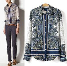2014 New Arrivals Chiffon Top Fashion Print Long Sleeve Shirt Blouse Size L M S