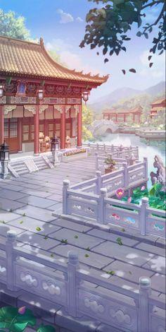Fantasy City, Fantasy Places, Fantasy Art Landscapes, Fantasy Landscape, Animation Background, Art Background, Chinese Background, Ancient Chinese Architecture, Outdoor Ponds