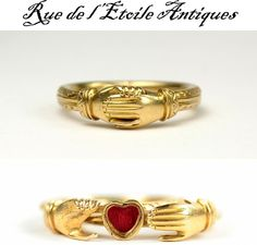 The French Romantic era (1820 to 1840, approx) brought all sentimental jewelry back into fashion, and this ring dates from that era at the latest. Constructed of three hoops of 16k gold pinned at the back, two hands open to reveal a heart shaped reliquary lined with red silk