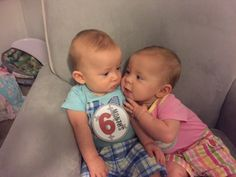 She's crazy about him! NEDC twins Hannah and Cade at 6 months old.