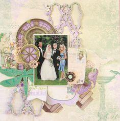 BoBunny Mix & Match Layouts. BridesMaid Scrapbook Page by Evgenia Petzer uisng BoBunny Enchanted Garden Collection. #BoBunny @evgeniapetzer