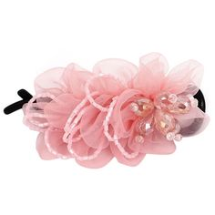 Plastic Teeth Rhinestone Bead Flower Decor Hair Clip Barrette Pink *** More info could be found at the image url.