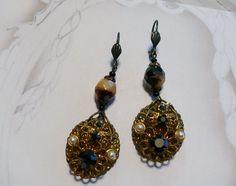 Vintage 40's W Germany Black AB Crystal Earrings by WillowBloom