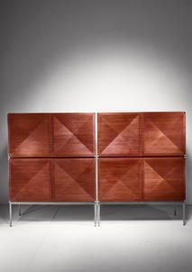 A pair of 'Pointe de Diamant' sideboards / highboards designed by Antoine Philippon & Jacqueline Lecoq in 1962 andmanufactured by Behr, Germany.  The cabinets are made of dark teak with maple inside and stand on a steel base. They have four diamond shaped doors and drawers and shelves inside.  Excellent condition.  We also have the matching sideboard available.