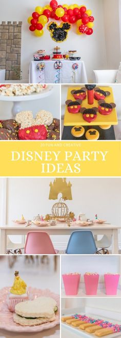 These magical and creative Disney Party Ideas are perfect for your boy or girl! From Mickey Mouse to Disney Princess, your child will love these simple Disney party decorations and food ideas! Party Themes, Party Ideas, Birthday Parties, Birthday Crowns, Disney Princess Dresses, Family Halloween Costumes, Star Wars Party, Minnie Mouse Party, Party In A Box
