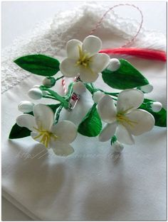 MIXED - Blooming White Flowers from Crepe Paper and Polymer Clay. Spring Romanian Amulets from Celebration of March in Romania. Amulets, Crepe Paper, Romania, White Flowers, Polymer Clay, Celebration, March, Wreaths, Spring