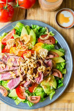 The Best Grilled Steak Salad with A1 Vinaigrette on ASpicyPerspective.com