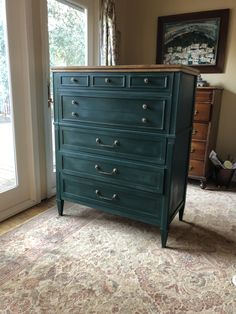 Vintage Drexel Dresser painted in ASCP's Napoleonic Blue and Amsterdam Green.   All Things New...