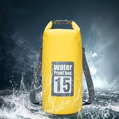 Iokone Outdoor Dry Bag 15L Lightweight Waterproof Bag PVC Wet Dry Sacks for  Kayaking   Boating   Canoeing   Fishing   Rafting   Swimming   Camping ... 4f81a0b5a5839