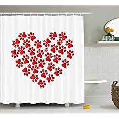 Cat Dog Lover Heart Shaped With Paw Prints Shower Curtain Set