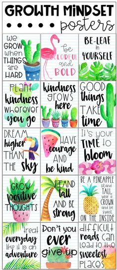 Tropical growth mindset posters. These cute growth mindset posters are a great way to surround your students with beautiful messages which can have a ... #classroomdecor #growth #mindset #posters #theme