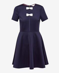 BOW DETAIL NEOPRENE DRESS - Dark Blue | Dresses | Ted Baker