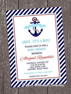 Nautical Anchor Baby Shower Invitations. $1.00, via Etsy.