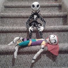 Crocheted Jack & Sally from the Nightmare Before Christmas Plush Amigurumi Dolls