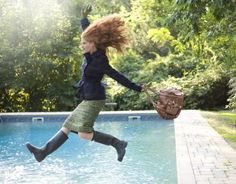 hunter boots and green tweed skirt