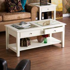 Found it at Wayfair - Wildon Home ® Amberly Coffee Table - Finish: Whitehttp://www.wayfair.com/Wildon-Home-%C2%AE-Amberly-Coffee-Table-DTO1422-UT2720.html?refid=SBP.rBAjD1Q1orkf3Sjr9CMUAgAAAAAAAAAAAAAAAAAAAAA