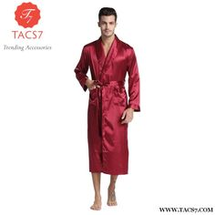 Men Silk Satin Bathrobe / Long Solid Silk Pajamas Red Wine / M Mens Silk Pajamas, Sexy Pajamas, Satin Pajamas, Streetwear, Male Kimono, Cocktail Wear, Silk Nightgown, Smoking Jacket, Mode Blog